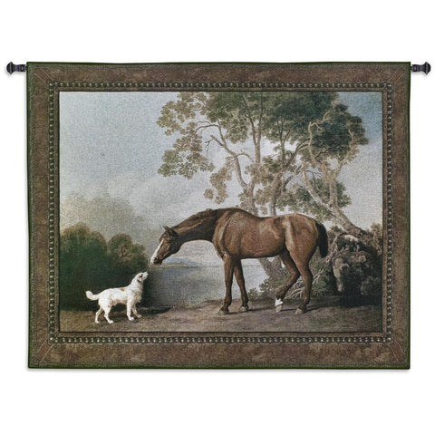 Bay Horse and Dog Greeting Art Tapestry Wall Hanging