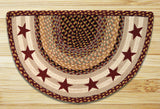 Burgundy Stars Half Circle Braided Jute Rug 32-357BS