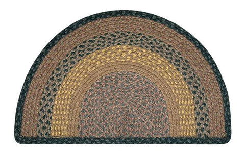 "Brown/Black/Charcoal 24""x39"" Half Circle Slice Braided Jute Rug 32-LG099"