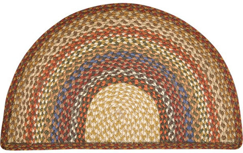 "Honey/Vanilla/Ginger 24""x39"" Half Circle Slice Braided Jute Rug 32-LG300"