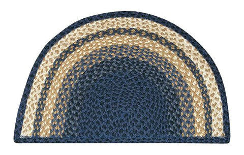 "Light Blue/Dark Blue/Mustard 18""x29"" Half Circle Slice Braided Jute Rug 32-SM079"