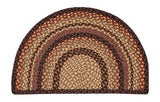 "Black Cherry/Chocolate/Cream 18""x29"" Half Circle Slice Braided Jute Rug 32-SM371"