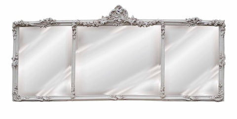 Georgian Rectangular Mantel Mirror in Old World White Finish