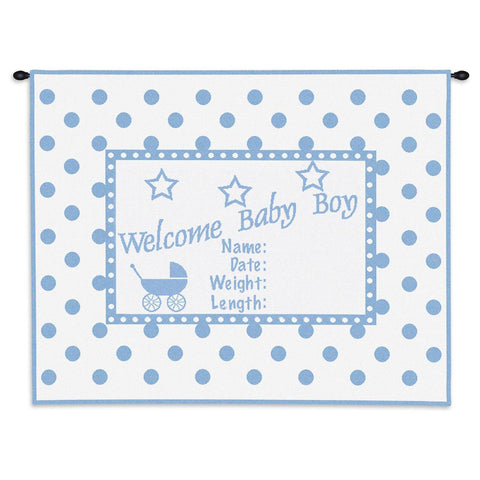 Welcome Baby Boy Art Tapestry Wall Hanging
