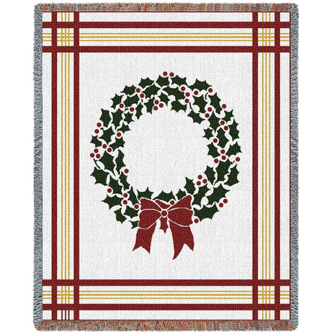 Christmas Wreath Art Tapestry Throw