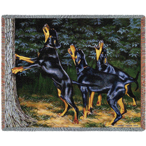 Doberman Pinscher Dogs Barking Up A Tree Art Tapestry Throw