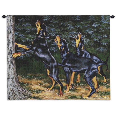 Dogs Barking Up A Tree Art Tapestry Wall Hanging