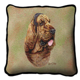 Bloodhound Dog Portrait Art Tapestry Pillow