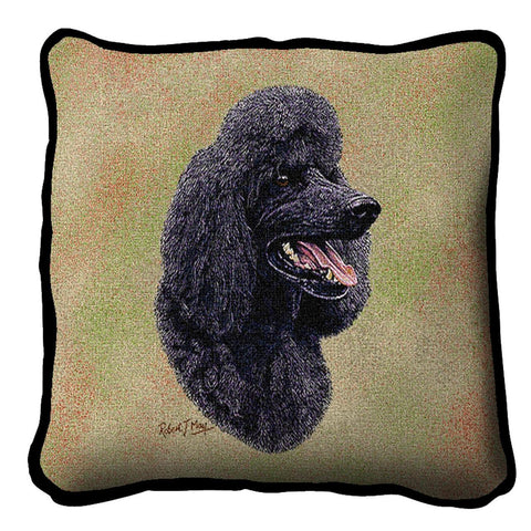 Black Poodle Dog Portrait Art Tapestry Pillow