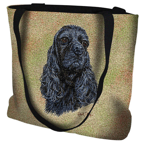 Black Cocker Spaniel Dog Portrait Art Tapestry Tote Bag