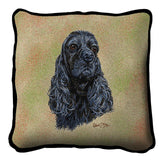 Black Cocker Spaniel Dog Portrait Art Tapestry Pillow