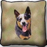 Australian Cattle Dog Portrait Art Tapestry Pillow