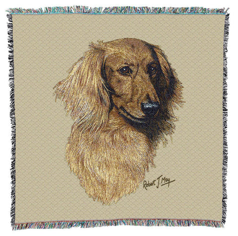 Long-Haired Red Dachshund Dog Portrait Art Tapestry Lap Throw