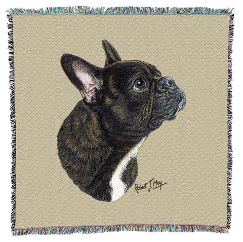 French Bulldog Portrait Art Tapestry Lap Throw