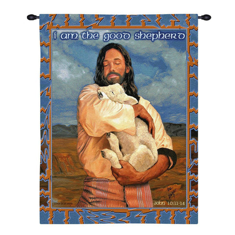 Jesus and Lamb with Scripture Art Tapestry Wall Hanging