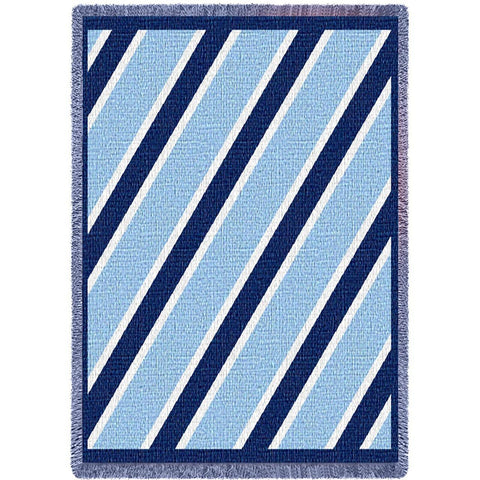 Navy/Light Blue/White Striped Art Tapestry Throw
