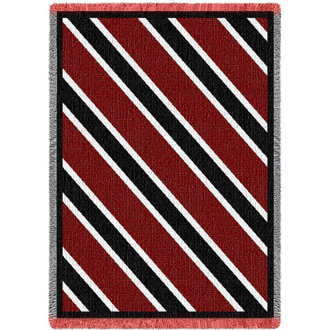 Red/Black/White Striped Art Tapestry Throw