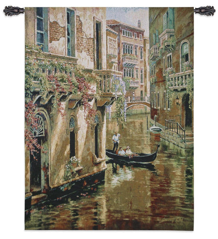 Afternoon on Venetian Canal Art Tapestry Wall Hanging