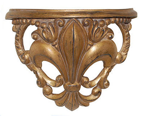 Fleur de Lis Bracket Wall Shelf Antique Reproduction in 60 Colors