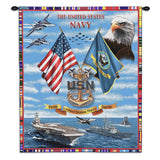 The United States Navy Collage Tribute to Chiefs Art Tapestry Wall Hanging
