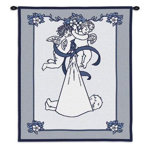 Cherub Angels Delivering Baby Art Tapestry Wall Hanging, Blue