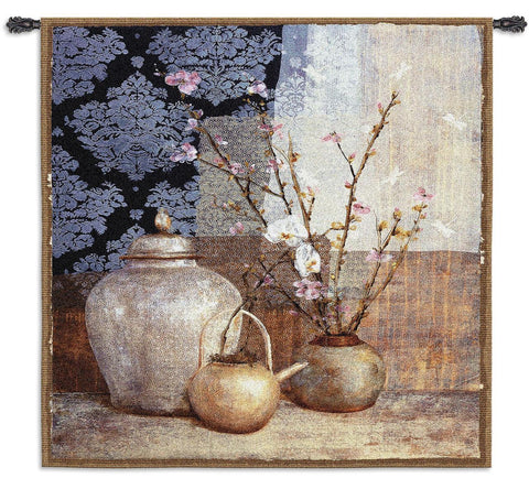 Asian Inspired Still Life Art Tapestry Wall Hanging