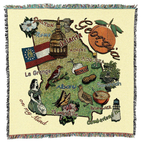 Georgia State Art Tapestry Lap Throw