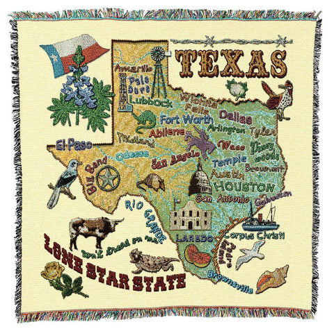 Texas State Art Tapestry Lap Throw