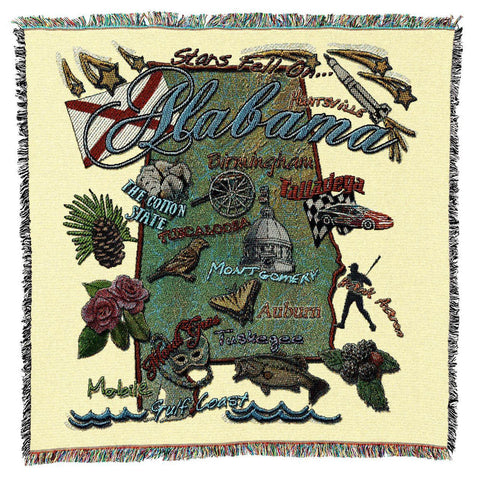 Alabama State Art Tapestry Lap Throw