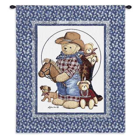Wild West Teddy Bear Art Tapestry Wall Hanging