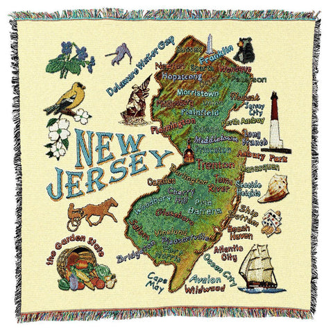 New Jersey State Art Tapestry Lap Throw