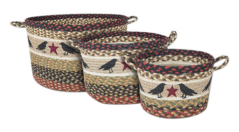 Crows and Star Braided Jute Storage Basket in 3 Sizes 38-UBP-019CS