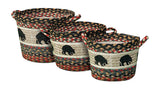 Black Bear Braided Jute Storage Basket in 3 Sizes 38-UBP-043BB