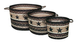 Black Star Braided Jute Storage Basket in 3 Sizes 38-UBP-313BS