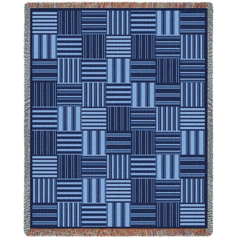 Blue Tiles Art Tapestry Throw