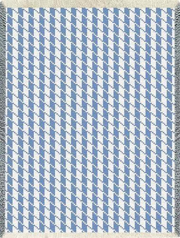 Houndstooth Art Tapestry Throw, Blue/White