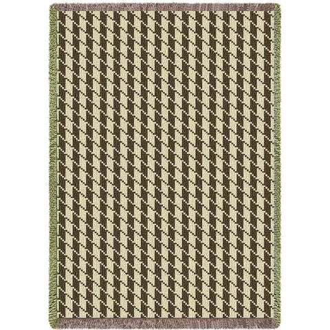 Houndstooth Art Tapestry Throw, Brown/Beige