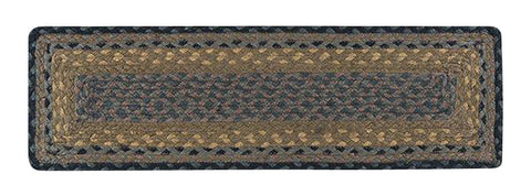 Brown/Black/Charcoal Rectangle Braided Jute Stair Tread 39-099