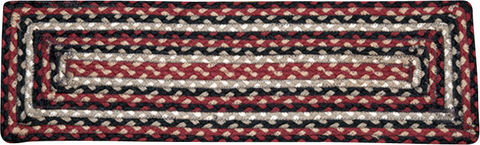 Burgundy/Black/Tan Rectangle Braided Jute Stair Tread 39-344