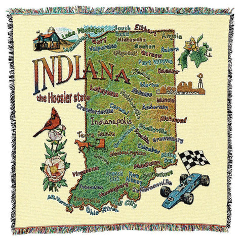 Indiana State Art Tapestry Lap Throw