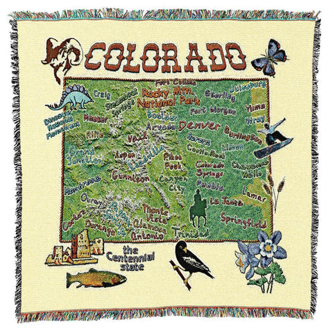 Colorado State Art Tapestry Lap Throw