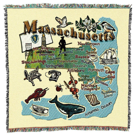 Massachusetts State Art Tapestry Lap Throw