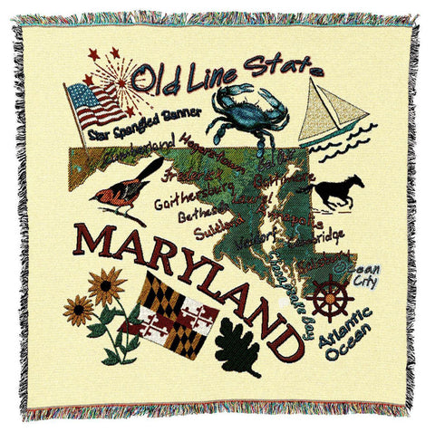 Maryland State Art Tapestry Lap Throw