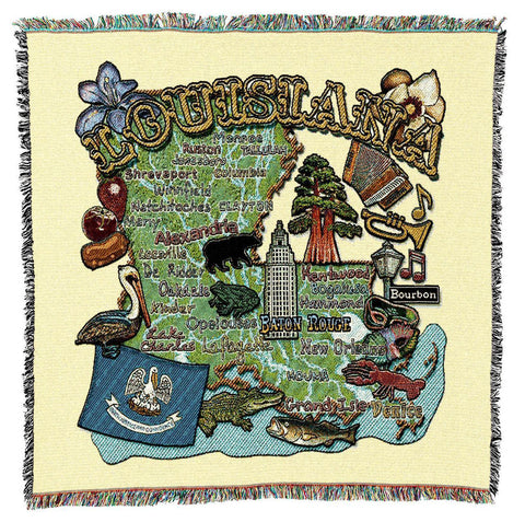 Louisiana State Art Tapestry Lap Throw