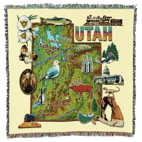 Utah State Art Tapestry Lap Throw