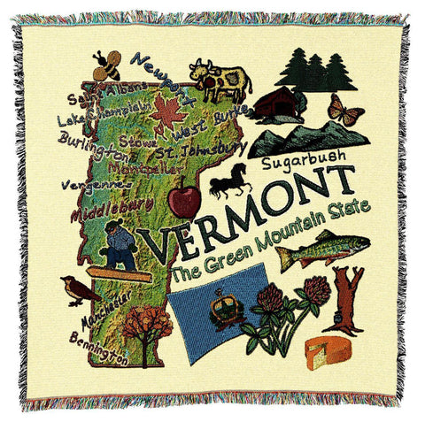 Vermont State Art Tapestry Lap Throw