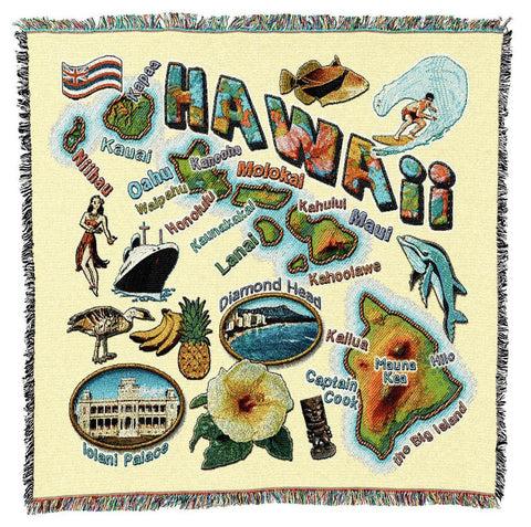 Hawaii State Art Tapestry Lap Throw
