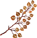 3D Aspen Leaves on Branch Metal Wall Art