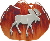 3D Moose Hand Brushed Steel on Acid Washed Metal Wall Art