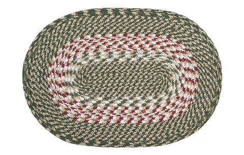 Green/Burgundy Braided Cotton Blend Oval Placemat 40-009